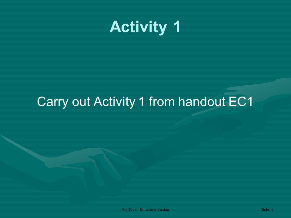 (C) 2003 - Dr. Ernest Cachia Slide: 6 Activity 1 Carry out Activity 1 from handout EC1
