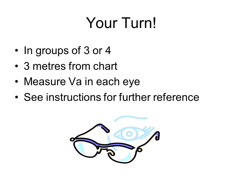 Your Turn! In groups of 3 or 4 3 metres from chart Measure Va in each eye See instructions for further reference