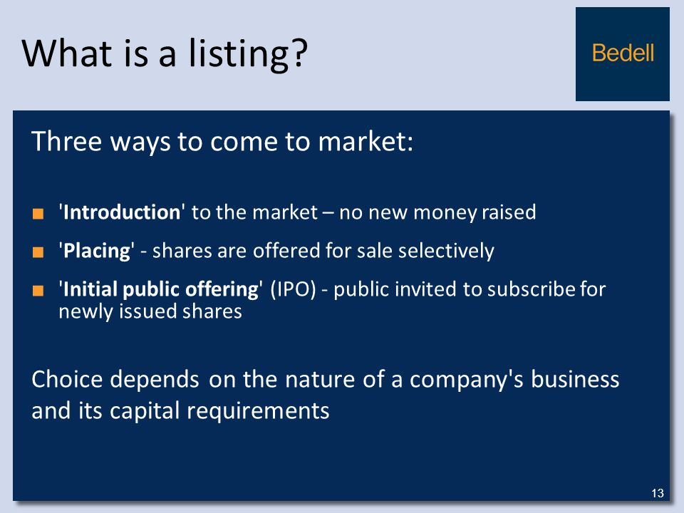What is a listing.