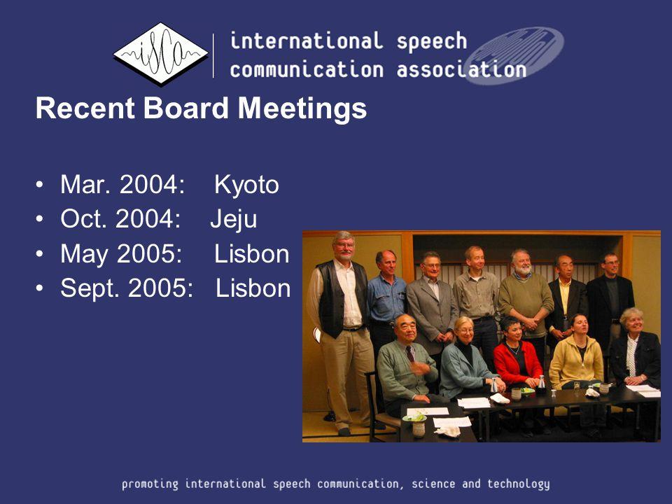 Recent Board Meetings Mar. 2004: Kyoto Oct. 2004: Jeju May 2005: Lisbon Sept. 2005: Lisbon