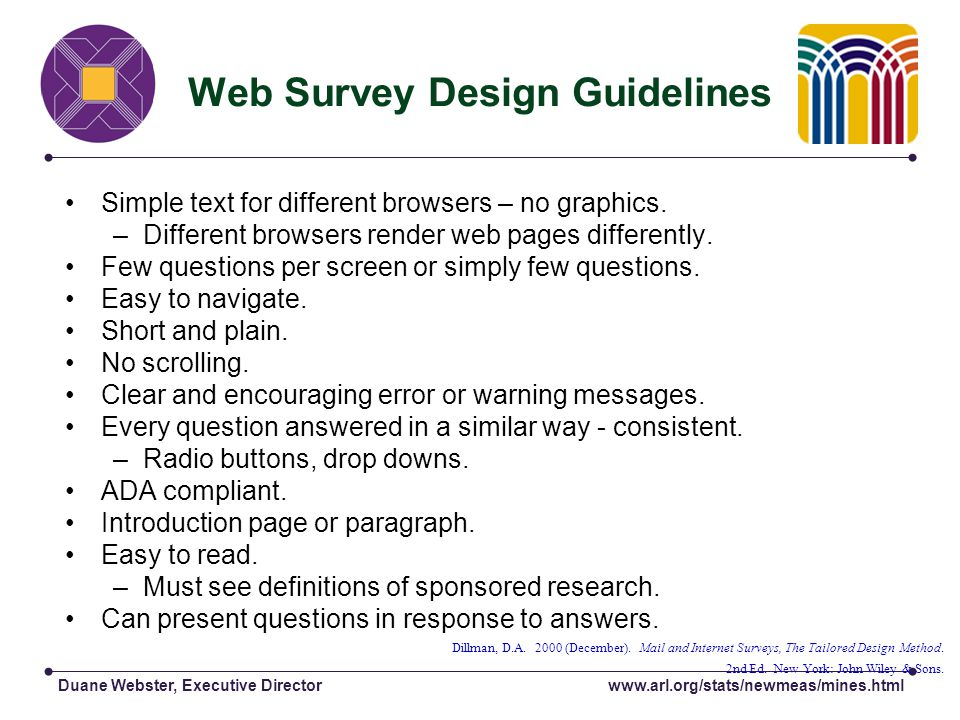 Duane Webster, Executive Director Web Survey Design Guidelines Simple text for different browsers – no graphics.