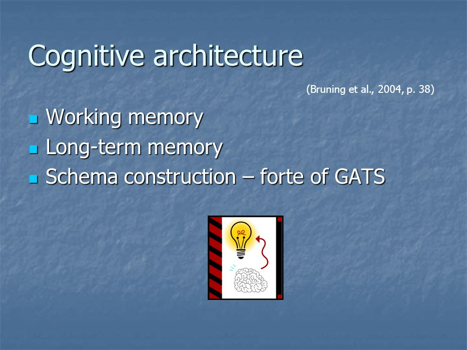 Cognitive architecture Working memory Working memory Long-term memory Long-term memory Schema construction – forte of GATS Schema construction – forte