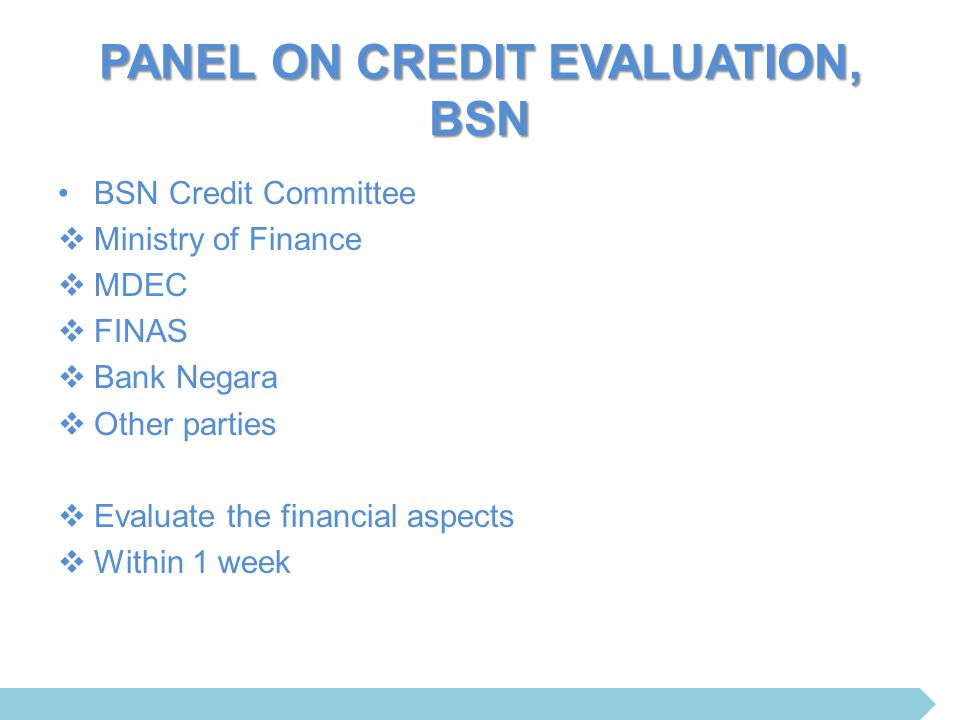 PANEL ON CREDIT EVALUATION, BSN BSN Credit Committee  Ministry of Finance  MDEC  FINAS  Bank Negara  Other parties  Evaluate the financial aspec