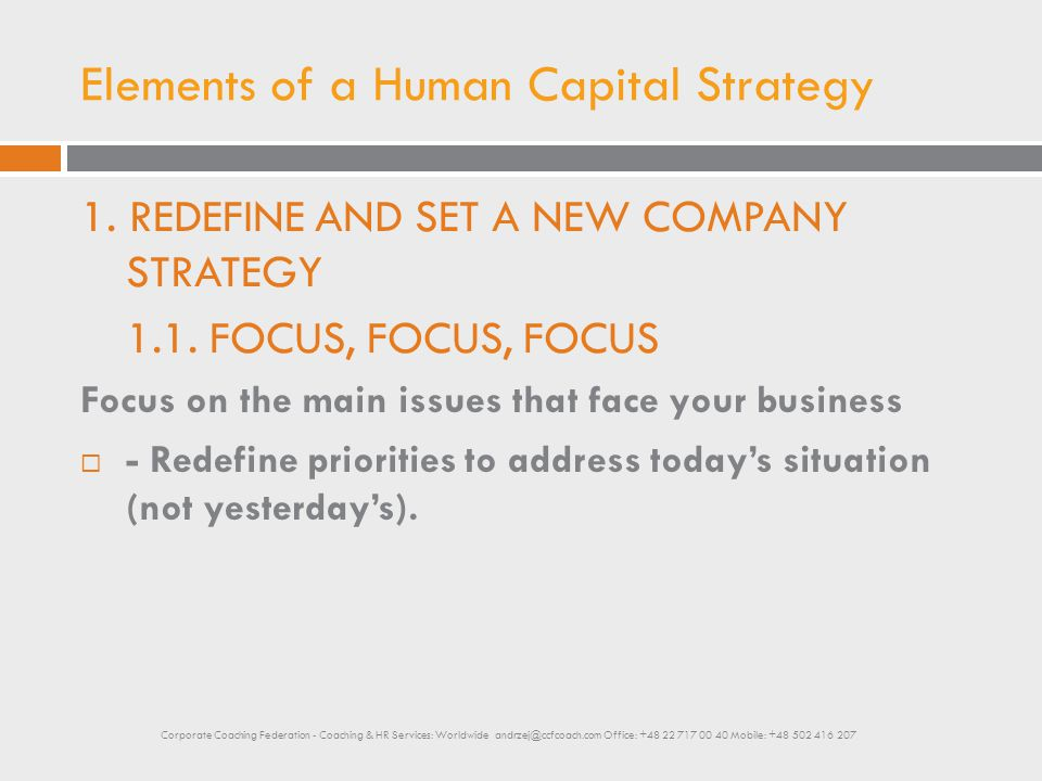 Elements of a Human Capital Strategy 1. REDEFINE AND SET A NEW COMPANY STRATEGY 1.1. FOCUS, FOCUS, FOCUS Focus on the main issues that face your busin