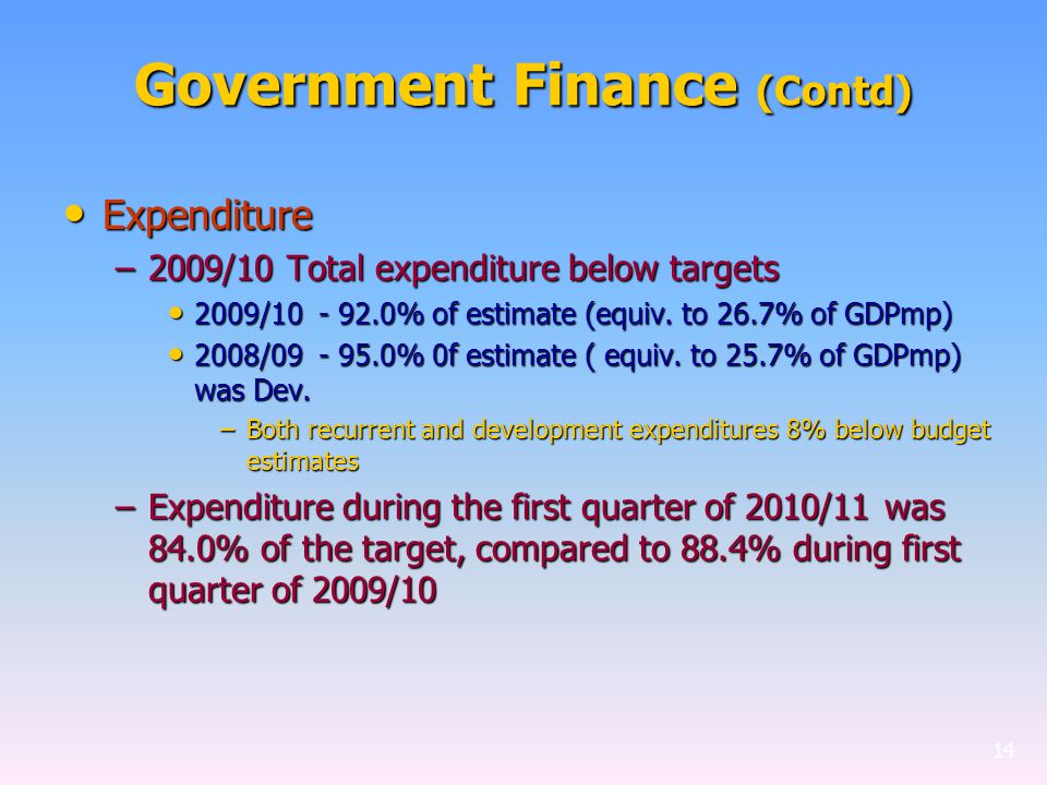 Government Finance (Contd) Expenditure Expenditure –2009/10 Total expenditure below targets 2009/10 - 92.0% of estimate (equiv.