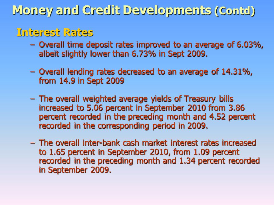 Money and Credit Developments (Contd) Interest Rates –Overall time deposit rates improved to an average of 6.03%, albeit slightly lower than 6.73% in Sept 2009.