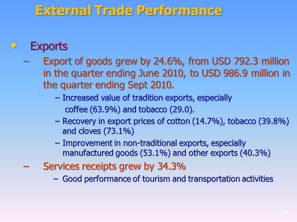 External Trade Performance Exports Exports –Export of goods grew by 24.6%, from USD 792.3 million in the quarter ending June 2010, to USD 986.9 million in the quarter ending Sept 2010.