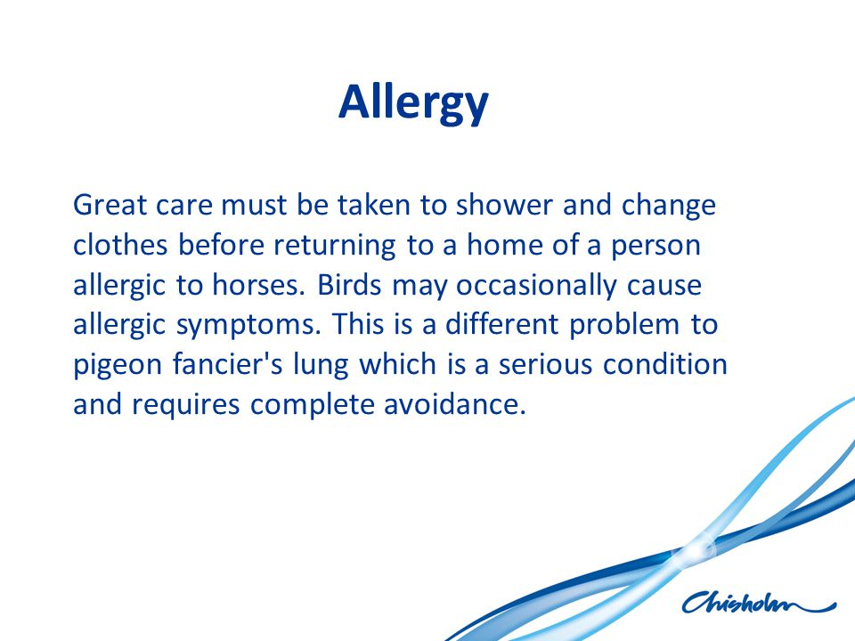 Allergy Great care must be taken to shower and change clothes before returning to a home of a person allergic to horses. Birds may occasionally cause