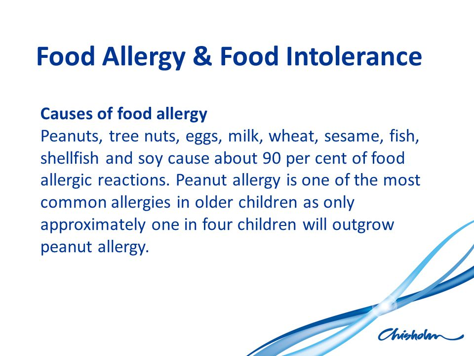 Food Allergy & Food Intolerance Causes of food allergy Peanuts, tree nuts, eggs, milk, wheat, sesame, fish, shellfish and soy cause about 90 per cent