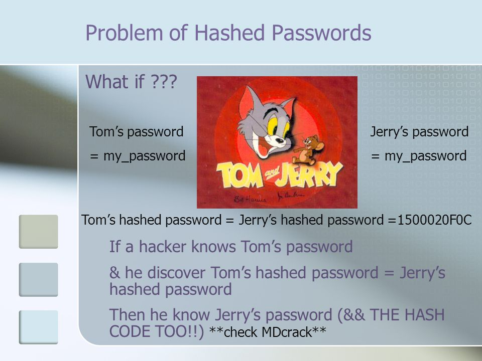 Problem of Hashed Passwords What if .