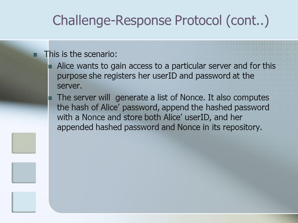 This is the scenario: Alice wants to gain access to a particular server and for this purpose she registers her userID and password at the server.