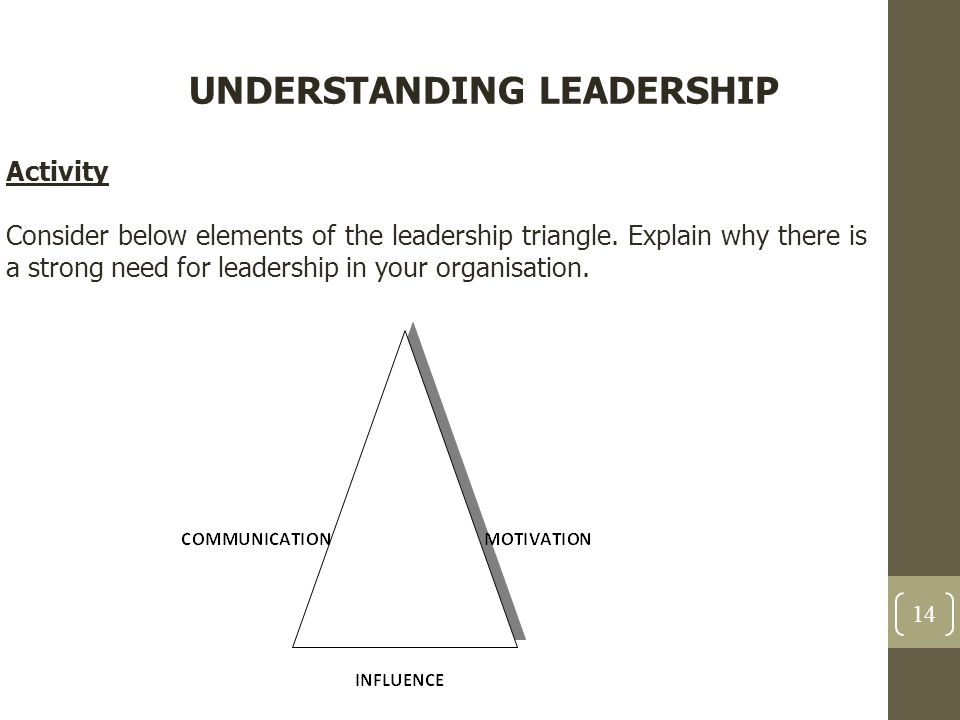 UNDERSTANDING LEADERSHIP Activity Consider below elements of the leadership triangle. Explain why there is a strong need for leadership in your organi