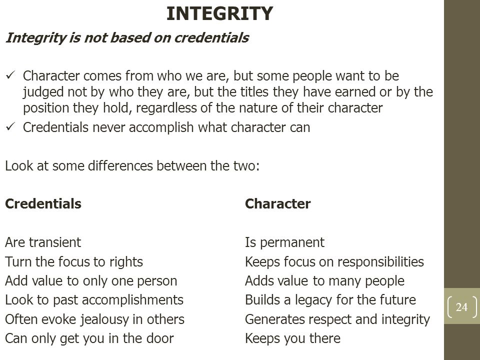 INTEGRITY Integrity is not based on credentials Character comes from who we are, but some people want to be judged not by who they are, but the titles