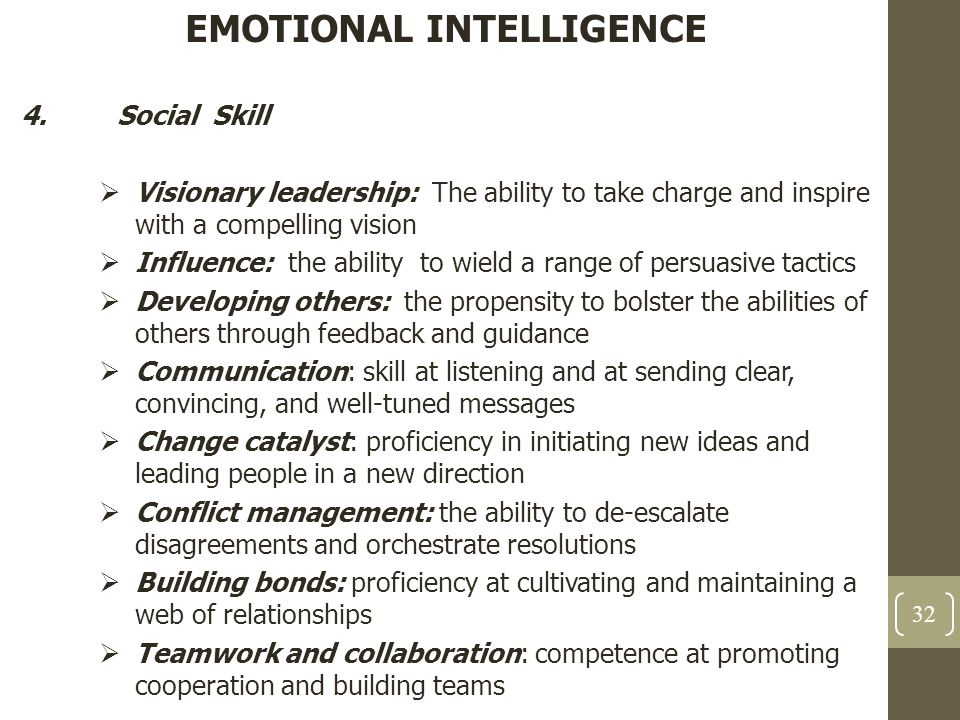 EMOTIONAL INTELLIGENCE 4.Social Skill  Visionary leadership: The ability to take charge and inspire with a compelling vision  Influence: the ability
