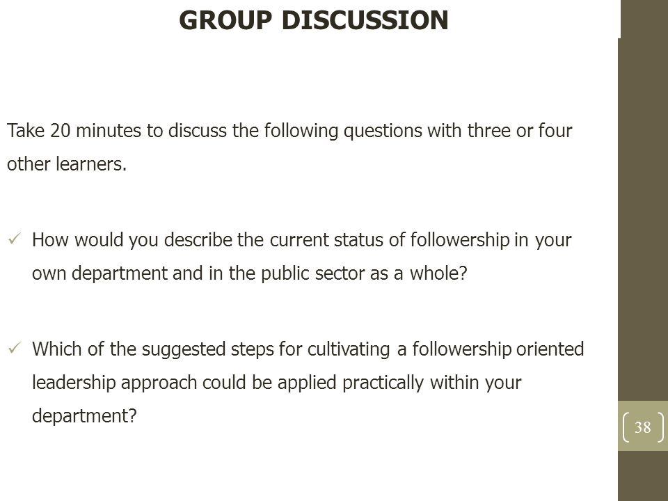 GROUP DISCUSSION Take 20 minutes to discuss the following questions with three or four other learners. How would you describe the current status of fo