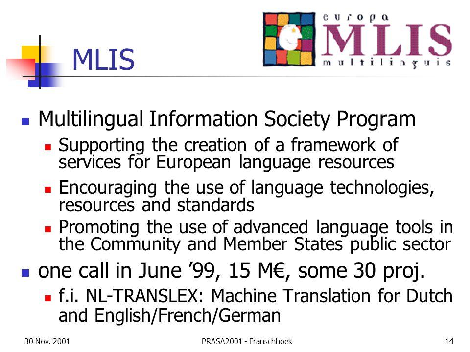 30 Nov. 2001PRASA2001 - Franschhoek14 MLIS Multilingual Information Society Program Supporting the creation of a framework of services for European la