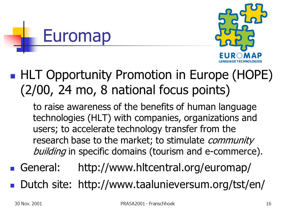 30 Nov. 2001PRASA2001 - Franschhoek16 Euromap HLT Opportunity Promotion in Europe (HOPE) (2/00, 24 mo, 8 national focus points) to raise awareness of