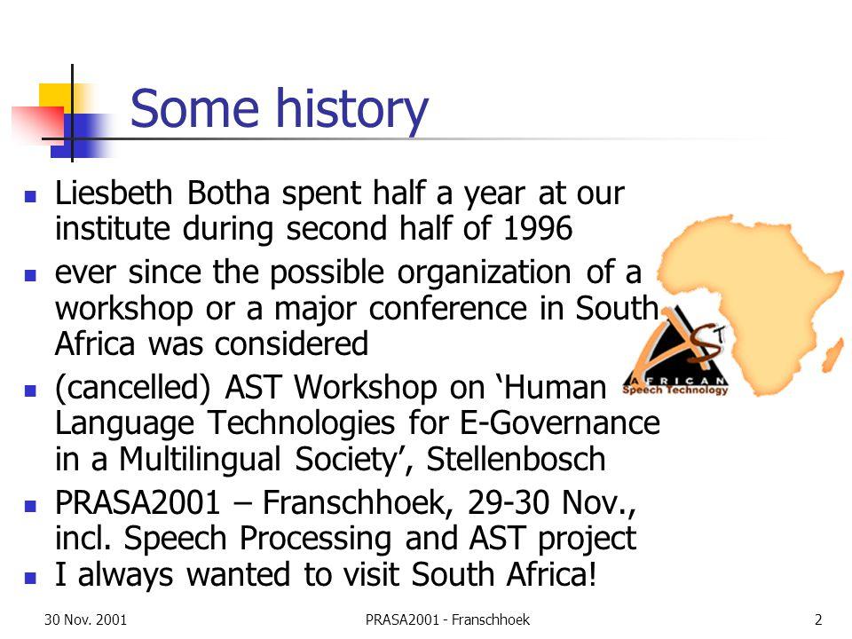 30 Nov.2001PRASA2001 - Franschhoek3 Overview Multilingual Europe (vs.