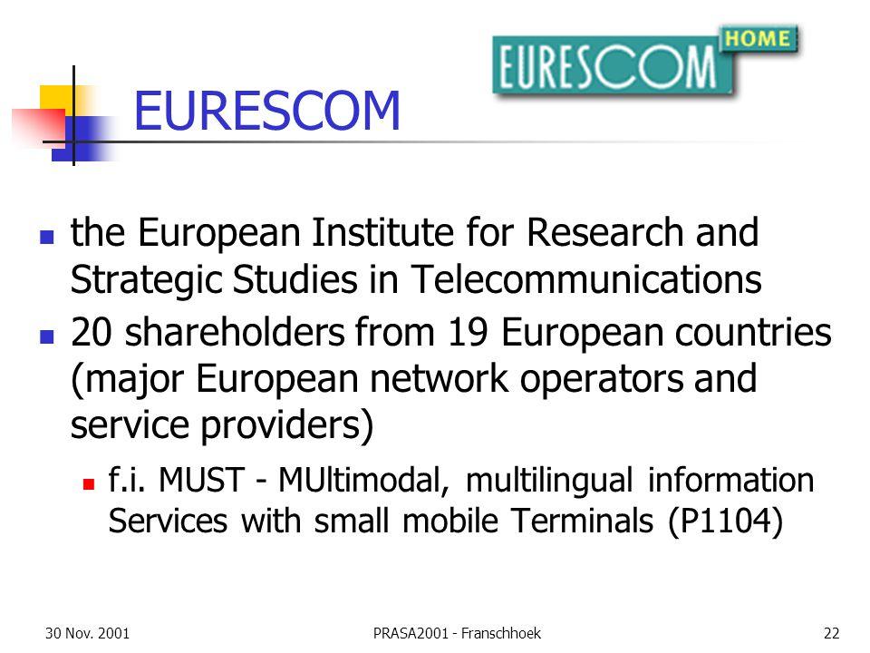30 Nov. 2001PRASA2001 - Franschhoek22 EURESCOM the European Institute for Research and Strategic Studies in Telecommunications 20 shareholders from 19
