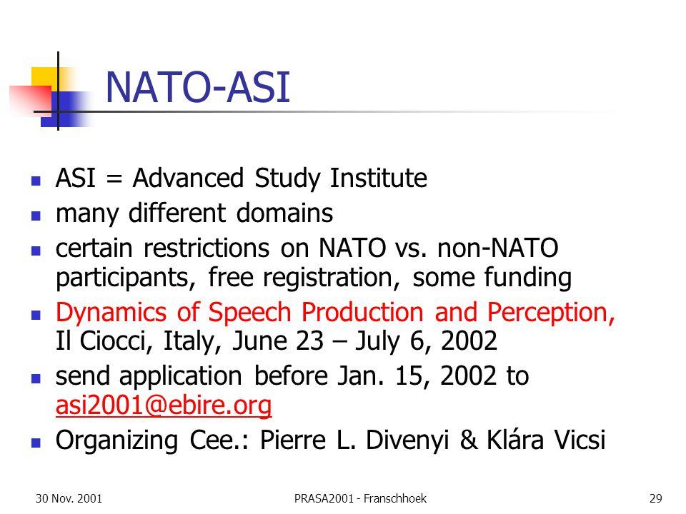 30 Nov. 2001PRASA2001 - Franschhoek29 NATO-ASI ASI = Advanced Study Institute many different domains certain restrictions on NATO vs. non-NATO partici