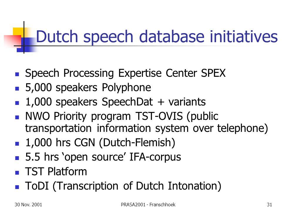 30 Nov. 2001PRASA2001 - Franschhoek31 Dutch speech database initiatives Speech Processing Expertise Center SPEX 5,000 speakers Polyphone 1,000 speaker
