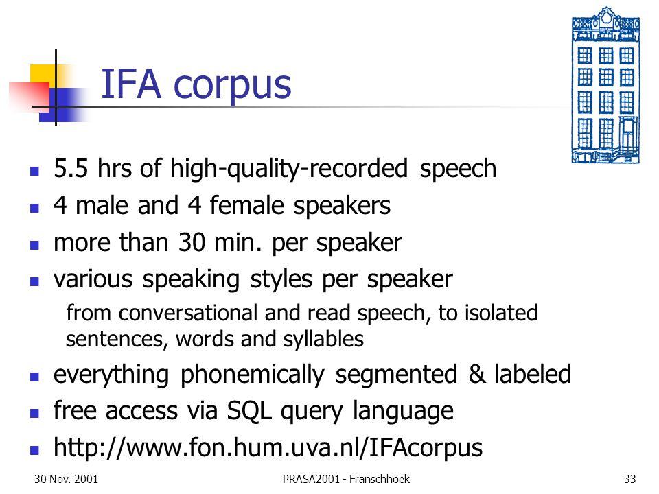 30 Nov. 2001PRASA2001 - Franschhoek33 IFA corpus 5.5 hrs of high-quality-recorded speech 4 male and 4 female speakers more than 30 min. per speaker va