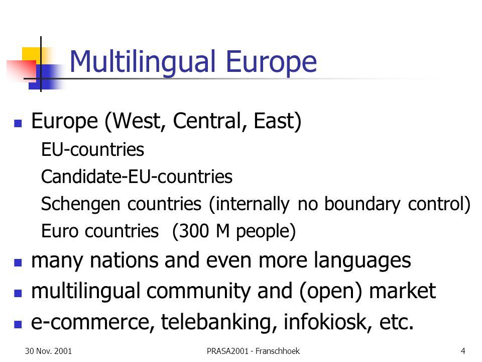 30 Nov. 2001PRASA2001 - Franschhoek4 Multilingual Europe Europe (West, Central, East) EU-countries Candidate-EU-countries Schengen countries (internal