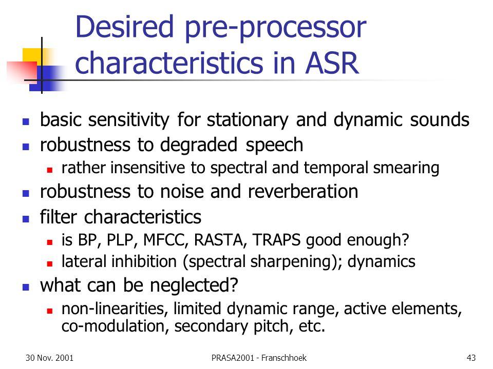 30 Nov. 2001PRASA2001 - Franschhoek43 Desired pre-processor characteristics in ASR basic sensitivity for stationary and dynamic sounds robustness to d