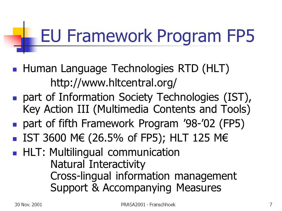 30 Nov. 2001PRASA2001 - Franschhoek7 EU Framework Program FP5 Human Language Technologies RTD (HLT) http://www.hltcentral.org/ part of Information Soc