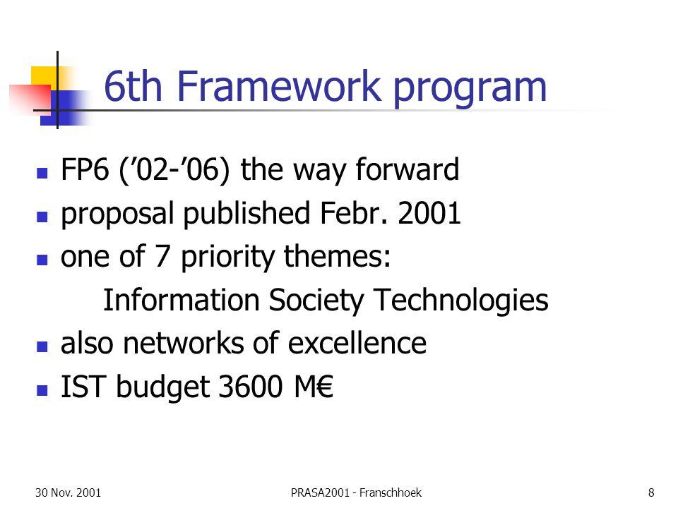 30 Nov. 2001PRASA2001 - Franschhoek8 6th Framework program FP6 ('02-'06) the way forward proposal published Febr. 2001 one of 7 priority themes: Infor