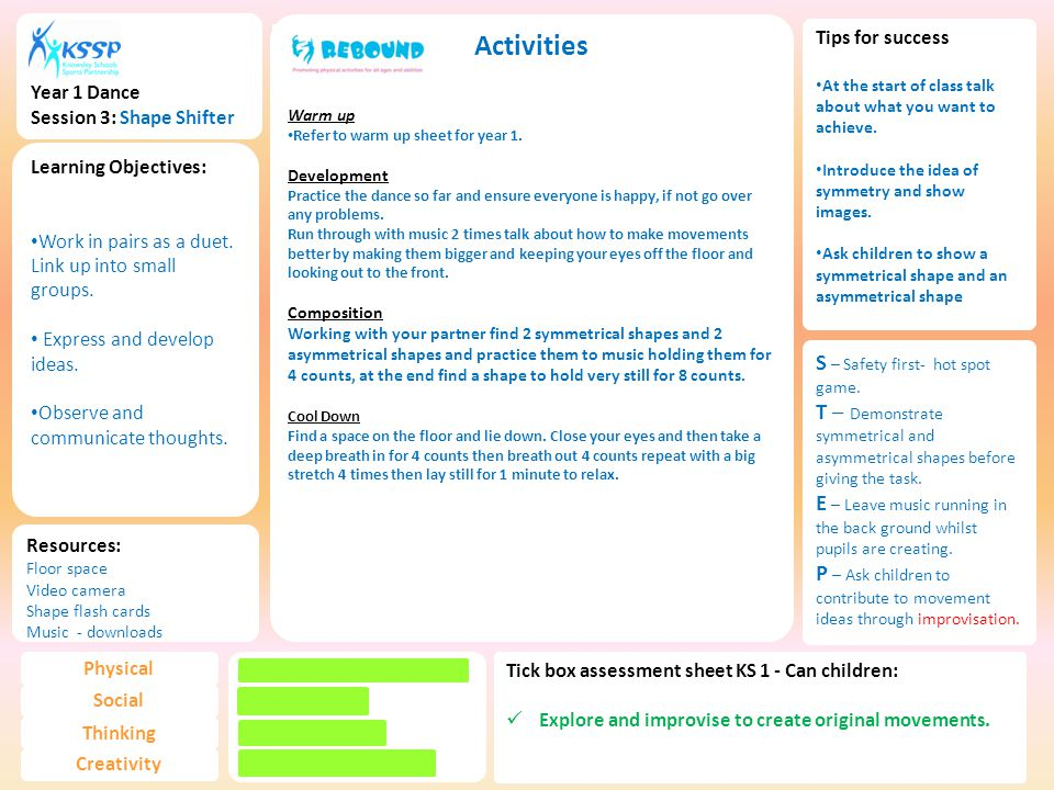 Year 1 Dance Session 3: Shape Shifter Activities Warm up Refer to warm up sheet for year 1.
