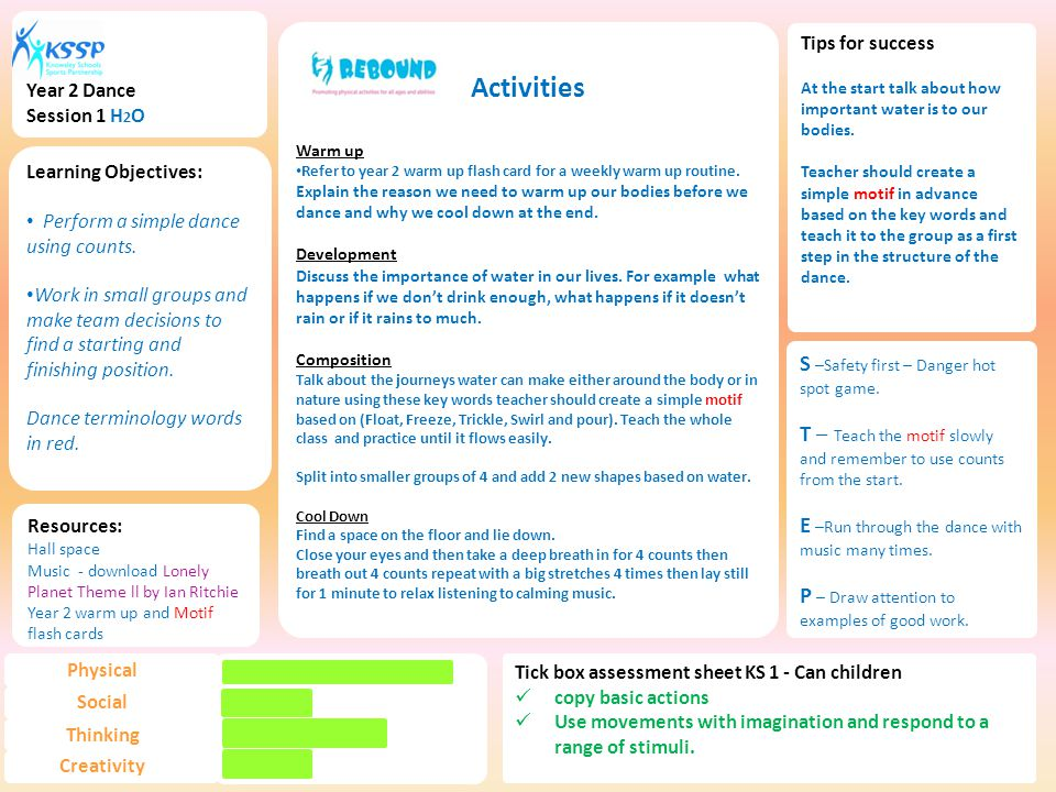 Activities Warm up Refer to year 2 warm up flash card for a weekly warm up routine.
