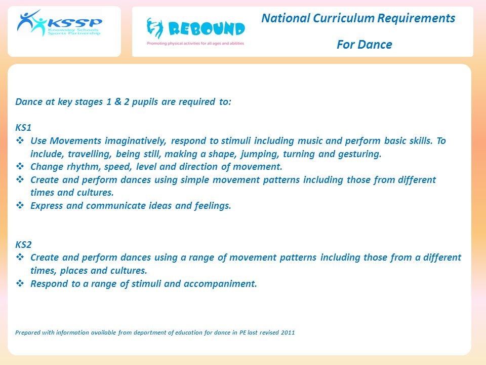 National Curriculum Requirements For Dance Dance at key stages 1 & 2 pupils are required to: KS1  Use Movements imaginatively, respond to stimuli including music and perform basic skills.