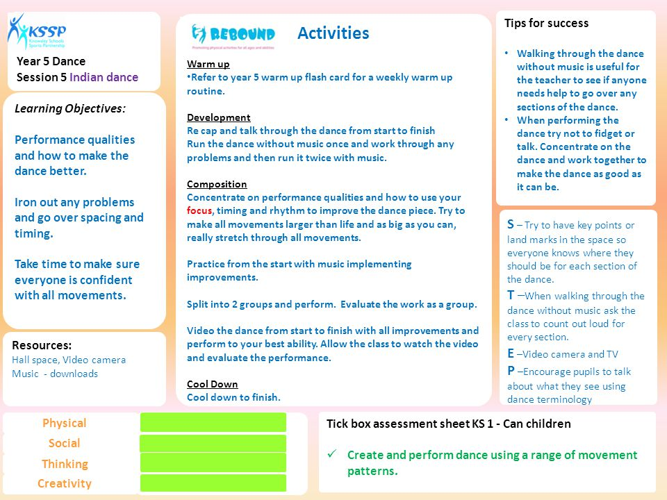 Activities Warm up Refer to year 5 warm up flash card for a weekly warm up routine.