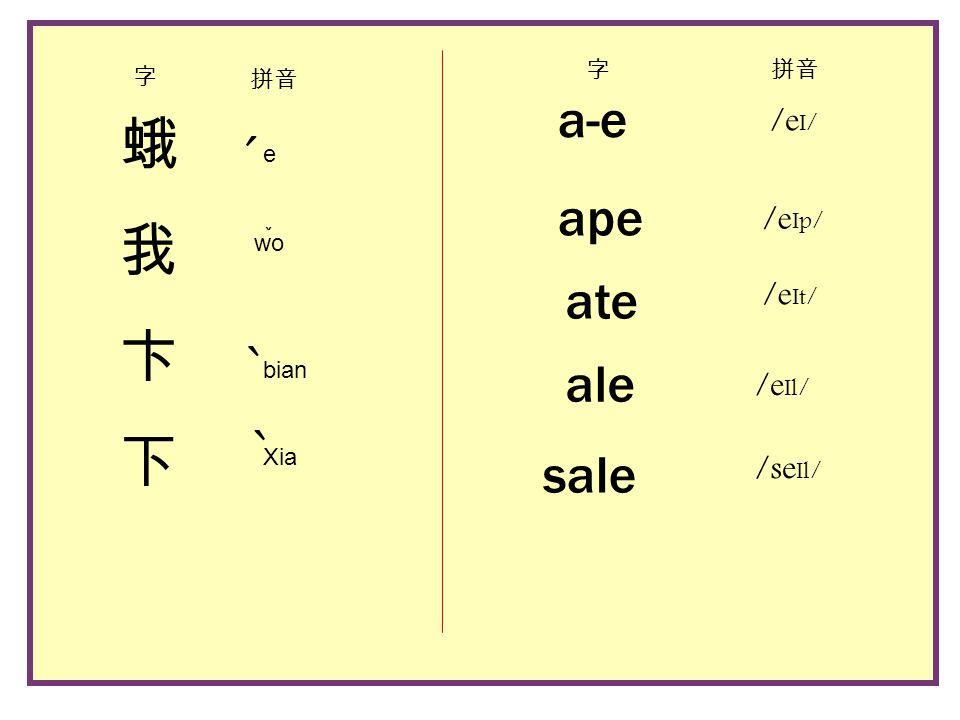 蛾我卞下蛾我卞下 e bian Xia ˇ ˋ ˊ wo ˋ 字 拼音 a-e ape ate sale ale /e I/ /e Ip/ /e It/ /e Il/ /se Il/ 字拼音