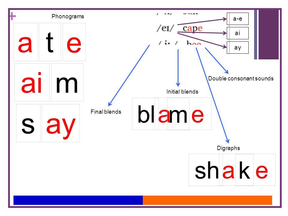 + ai ay a-e t e a Phonograms mai ays Initial blends Final blends Double consonant sounds Digraphs a e bl m a e sh k