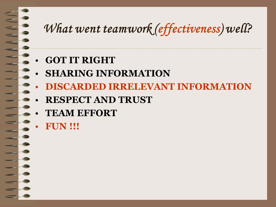 What went teamwork (effectiveness) well? GOT IT RIGHT SHARING INFORMATION DISCARDED IRRELEVANT INFORMATION RESPECT AND TRUST TEAM EFFORT FUN !!!