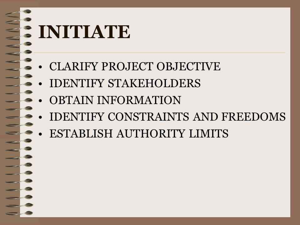 INITIATE CLARIFY PROJECT OBJECTIVE IDENTIFY STAKEHOLDERS OBTAIN INFORMATION IDENTIFY CONSTRAINTS AND FREEDOMS ESTABLISH AUTHORITY LIMITS