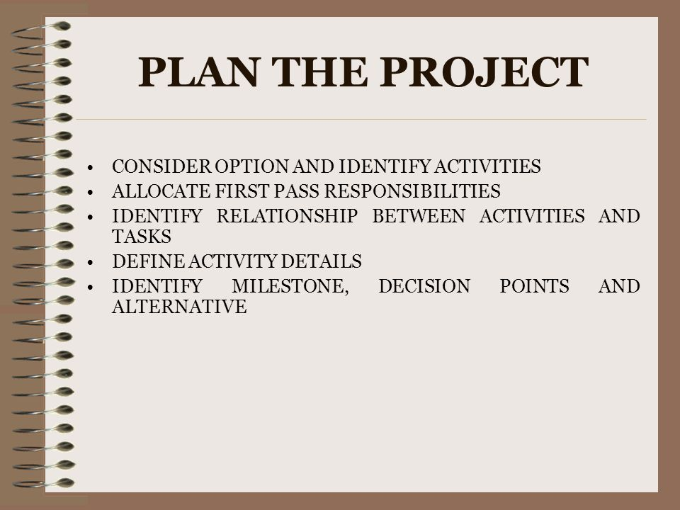 PLAN THE PROJECT CONSIDER OPTION AND IDENTIFY ACTIVITIES ALLOCATE FIRST PASS RESPONSIBILITIES IDENTIFY RELATIONSHIP BETWEEN ACTIVITIES AND TASKS DEFIN