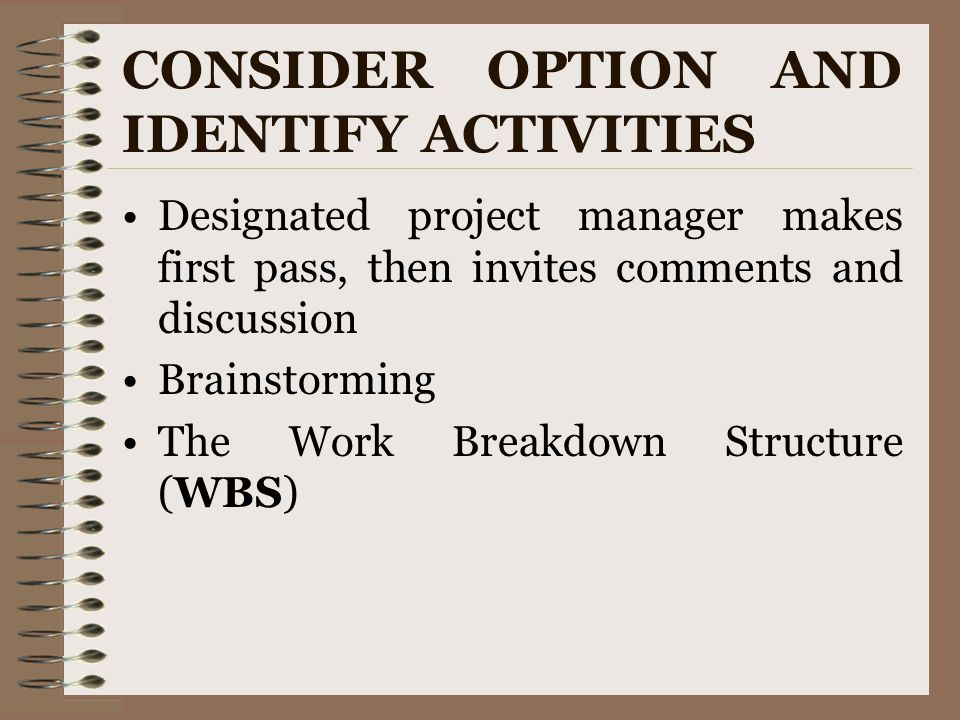 CONSIDER OPTION AND IDENTIFY ACTIVITIES Designated project manager makes first pass, then invites comments and discussion Brainstorming The Work Break