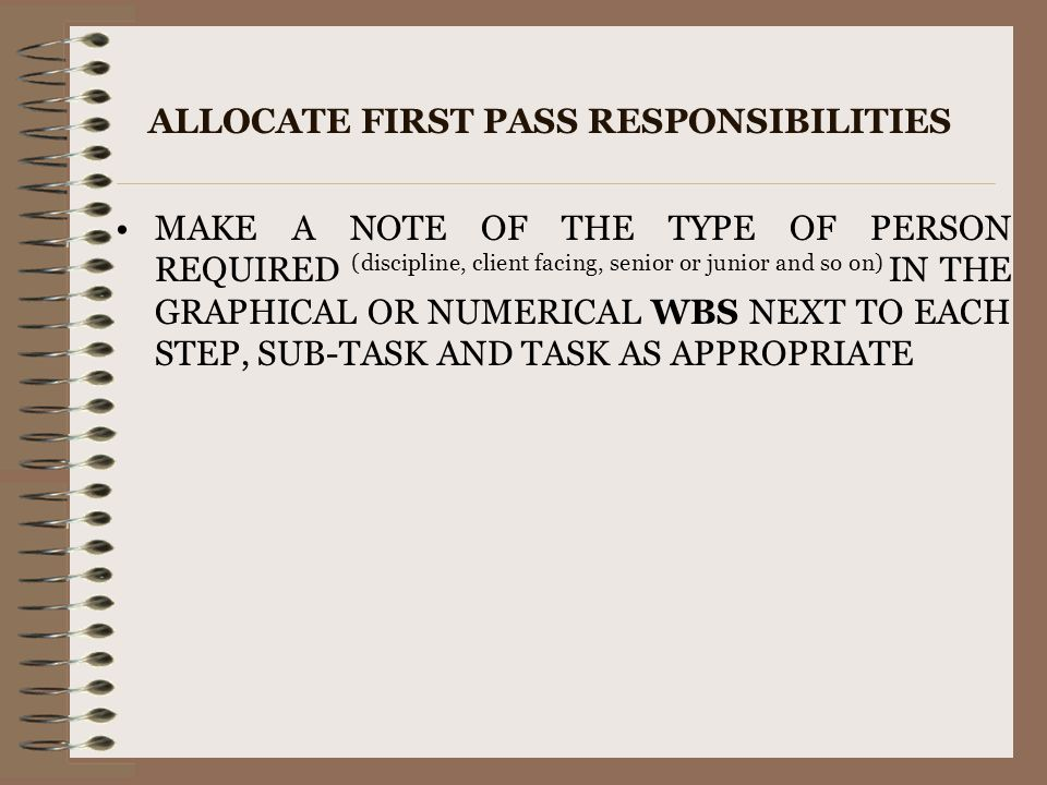 ALLOCATE FIRST PASS RESPONSIBILITIES MAKE A NOTE OF THE TYPE OF PERSON REQUIRED (discipline, client facing, senior or junior and so on) IN THE GRAPHIC
