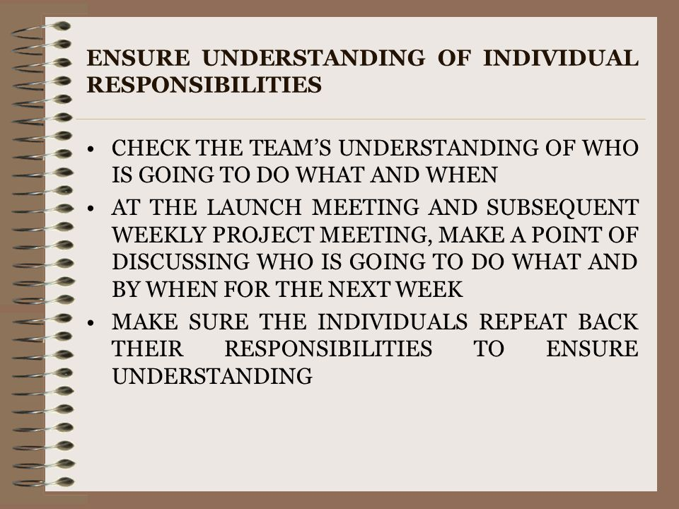 ENSURE UNDERSTANDING OF INDIVIDUAL RESPONSIBILITIES CHECK THE TEAM'S UNDERSTANDING OF WHO IS GOING TO DO WHAT AND WHEN AT THE LAUNCH MEETING AND SUBSE