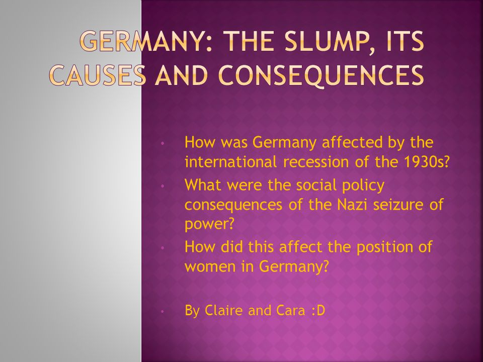 How was Germany affected by the international recession of the 1930s.