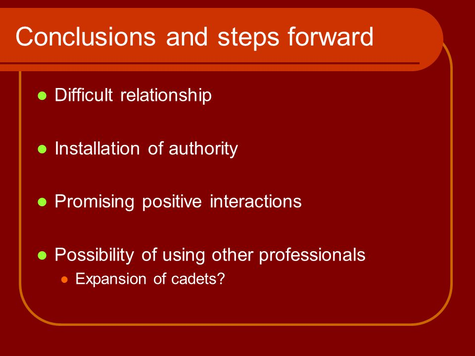 Conclusions and steps forward Difficult relationship Installation of authority Promising positive interactions Possibility of using other professionals Expansion of cadets?