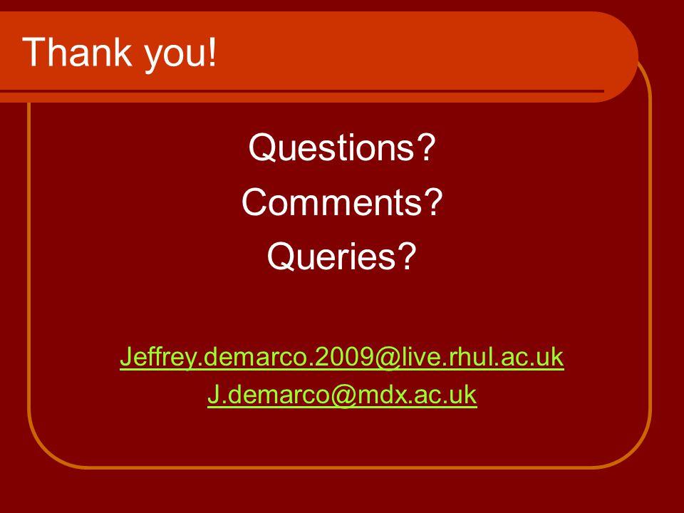 Thank you! Questions Comments Queries Jeffrey.demarco.2009@live.rhul.ac.uk J.demarco@mdx.ac.uk