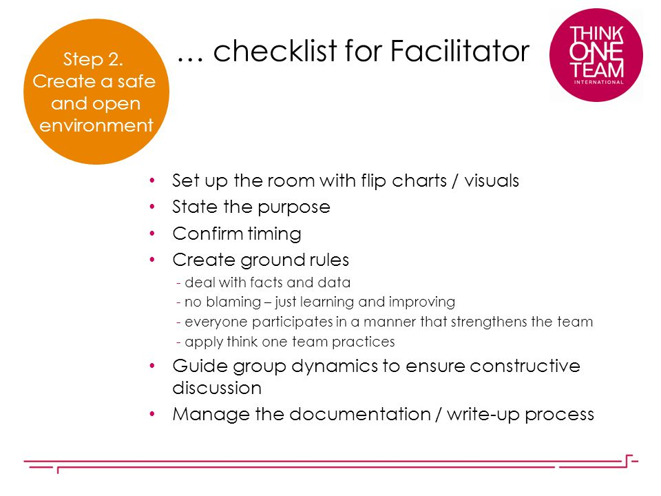 … checklist for Facilitator Set up the room with flip charts / visuals State the purpose Confirm timing Create ground rules - deal with facts and data