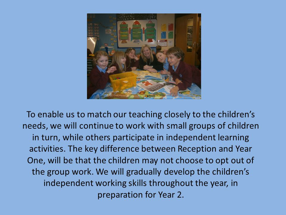 To enable us to match our teaching closely to the children's needs, we will continue to work with small groups of children in turn, while others participate in independent learning activities.