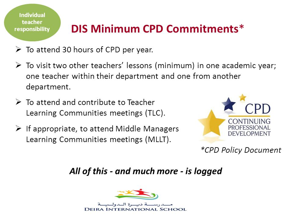  To attend 30 hours of CPD per year.  To visit two other teachers' lessons (minimum) in one academic year; one teacher within their department and o