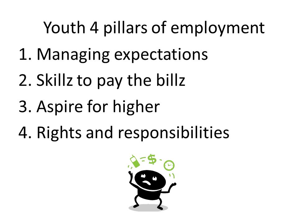 Youth 4 pillars of employment 1. Managing expectations 2. Skillz to pay the billz 3. Aspire for higher 4. Rights and responsibilities