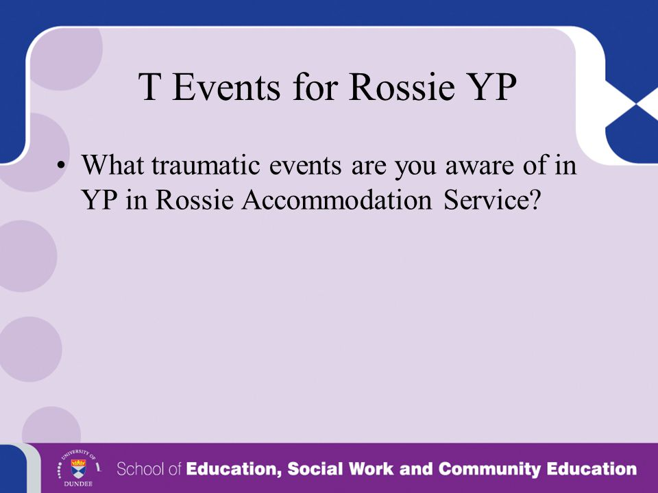 T Events for Rossie YP What traumatic events are you aware of in YP in Rossie Accommodation Service?